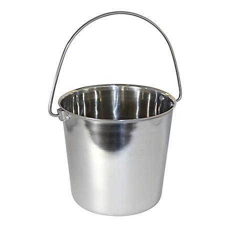 OmniPet by Leather Brothers Pail Stainless Steal Round with Rivets, 4 qt., 010LB-8363