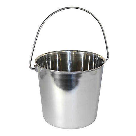 OmniPet by Leather Brothers Pail Stainless Steal Round with Rivets, 6 qt., 010LB-8364