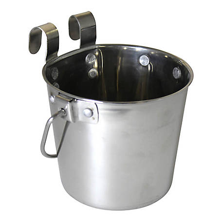 OmniPet by Leather Brothers Pail Stainless Steal with Rivets Flat Sided Hook-On, 1 qt., 010LB-8356