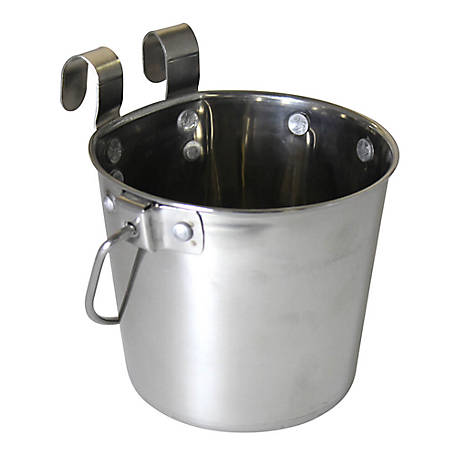 OmniPet by Leather Brothers Pail Stainless Steal with Rivets Flat Sided Hook-On, 4 qt., 010LB-8358