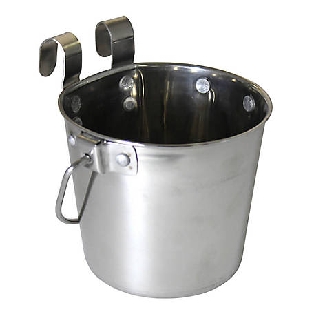 OmniPet by Leather Brothers Pail Stainless Steal with Rivets Flat Sided Hook-On, 6 qt., 010LB-8359