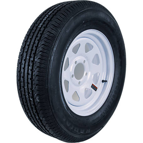 Hi-Run Radial Trailer Wheel Assembly, ST205/75R15 8PR ST100 on 15X5 5-4.5 White Wheel, ASR1204