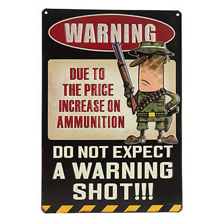 Open Road Brands Warning Shot Black Embossed Metal Sign