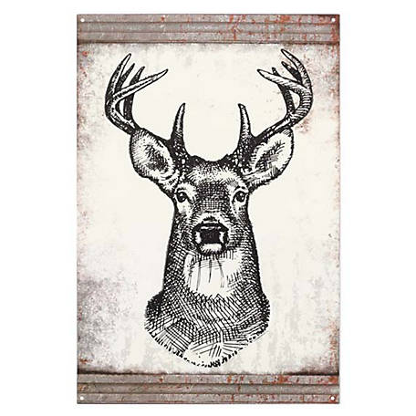 Open Road Brands Deer Sketch Embossed Tin Sign