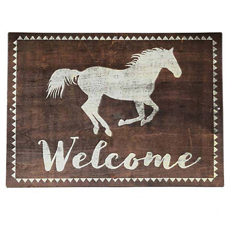 Open Road Brands Welcome Sign with White Running Horse
