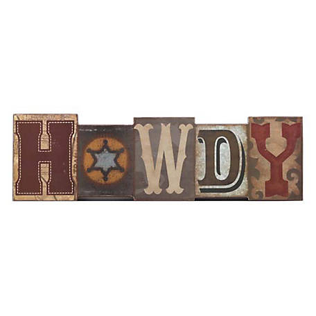 Open Road Brands Rustic Howdy Block MDF Wood Wall Art
