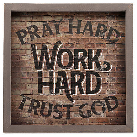 Open Road Brands Pray Hard Notes Wood Framed Wall Decor