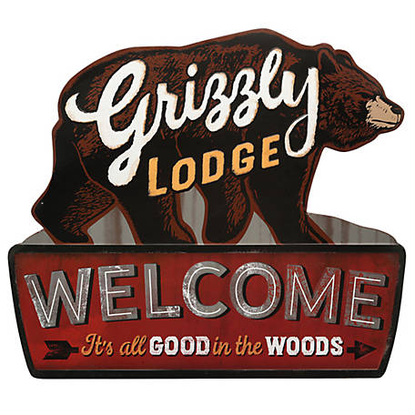 Open Road Brands Grizzly Lodge Rustic Embossed Metal Sign