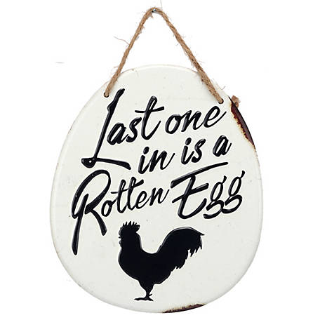 Open Road Brands Rotten Egg Metal Sign with Rope Hanger