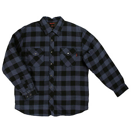 Tough Duck Men's Insulated Brushed Cotton Flannel Plaid Shirt, WS05