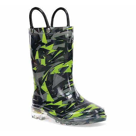 Western Chief Boys' Scatter Camo Lighted Rain Boot