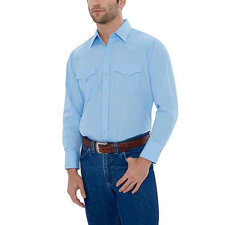 Ely Cattleman Men's Long Sleeve Snap Front Solid Western Shirt, 15201905