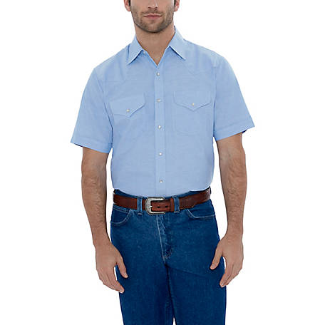 Ely Cattleman Men's Short Sleeve Snap Front Wrinkle Resistant Oxford Solid, 15202665