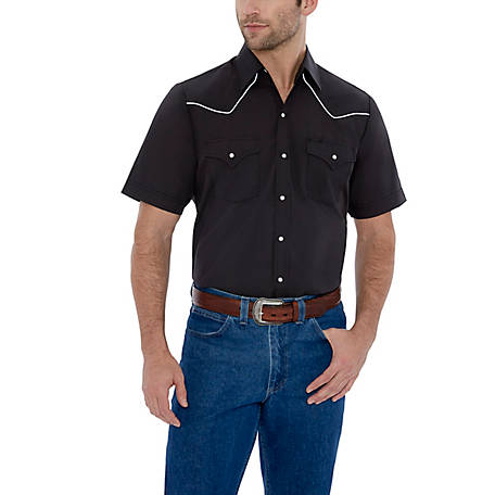 Ely Cattleman Men's Short Sleeve Snap Front Solid with Contrast Piping, 15202680