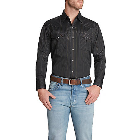 Ely Cattleman Men's Long Sleeve Snap Front Solid with Gold And Silver Lurex Stripe Western Shirt, 15202944