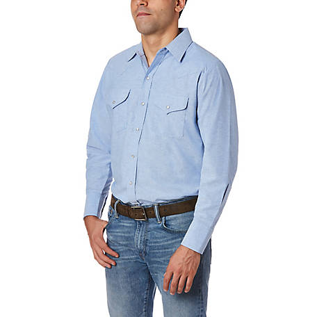 Ely Cattleman Men's Long Sleeve Snap Front Wrinkle Resistant Oxford Solid, 15202965