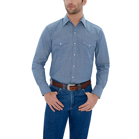 Ely Cattleman Men's Long Sleeve Snap Front Chambray Work Shirt, 15202975