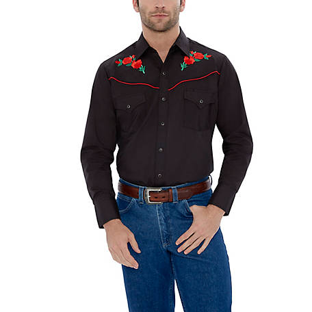 Ely Cattleman Men's Long Sleeve Snap Front Rose Embroidery Western Shirt, 15203901