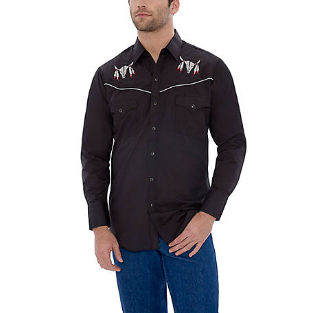 Ely Cattleman Men's Long Sleeve Snap Front Skull Embroidery Western Shirt, 15203919