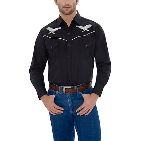 Ely Cattleman Men's Long Sleeve Snap Front Flying Eagle Embroidery Western Shirt, 15203961