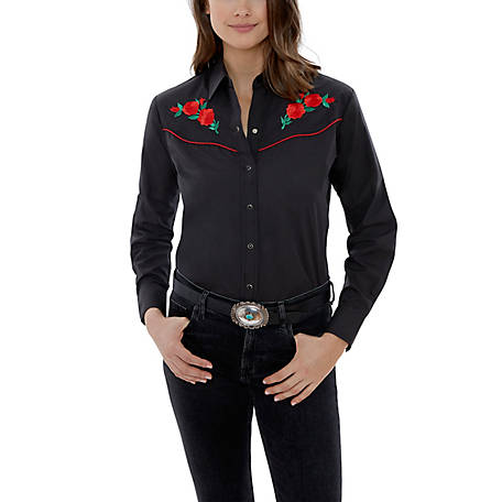 Ely Cattleman Women's Long Sleeve Snap Front Rose Embroidery Western Shirt, 15303801