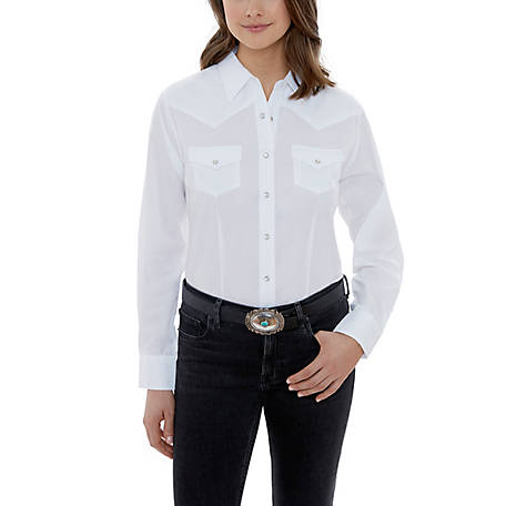 Ely Cattleman Women's Long Sleeve Snap Front Solid White Western Shirt, 15321905