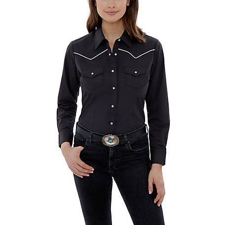 Ely Cattleman Women's Long Sleeve Snap Front Contrast Piped Western Shirt, 15324205