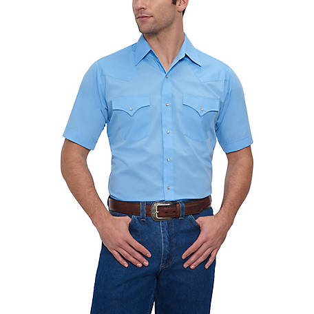 Ely Cattleman Men's Short Sleeve Snap Front Solid Western Shirt, 15201605