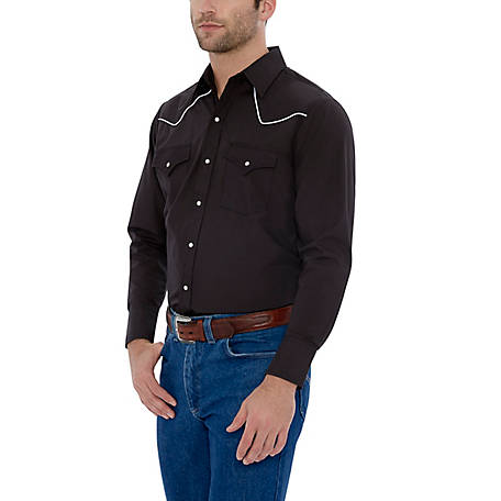 Ely Cattleman Men's Long Sleeve Snap Front Solid with Contrast Piping, 15202980