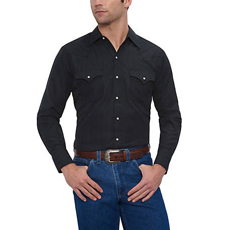 Ely Cattleman Men's Long Sleeve Snap Front Tone On Tone Western Shirt, 15201934