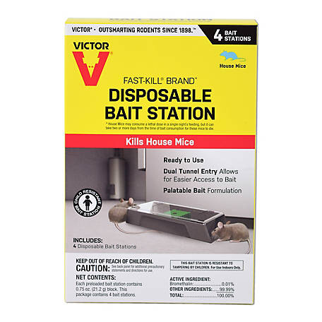 Victor Fast-Kill Brand Disposable Mouse Poison Bait Station, 4-Pack, M915