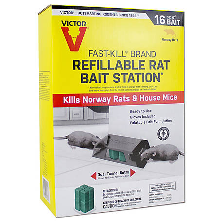 Victor Fast-Kill Brand Refillable Rat Poison Bait Station, 8 Baits, M930