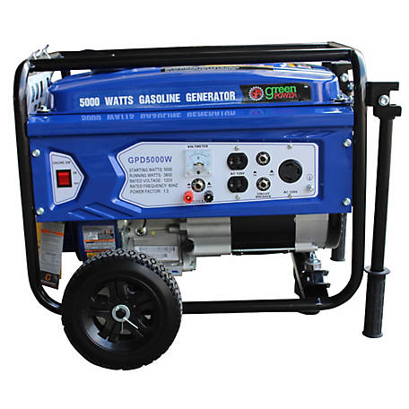 Green-Power America 5000 Watt Gas Powered Portable Generator, GPD5000W