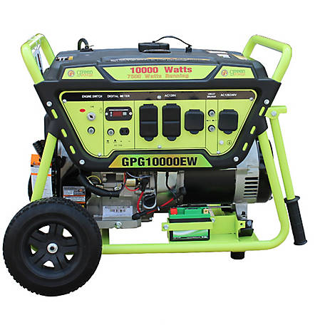 Green-Power America 10000 Watt Gas Powered Portable Generator with Electric Start And Lithium Battery, GPG10000EW