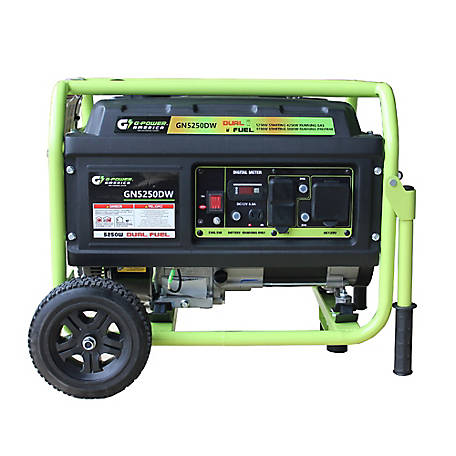 Green-Power America 5250/4750W Propane & Gas Powered Dual Fuel Portable Generator, GN5250DW
