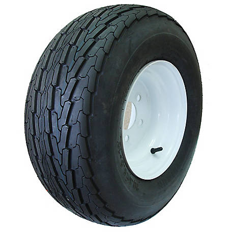 Hi-Run Boat Trailer Tire Assembly 18.5x8.5-8 6PR SU03 & 8x7 5-4.5 White Solid (Center Bore 2.81 in., Offset-2mm), ASB1026