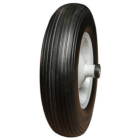 Hi-Run CT1005 Wheelbarrow Tire Assembly 4.00-6 4PR Rib Tire and Wheel, CT1005