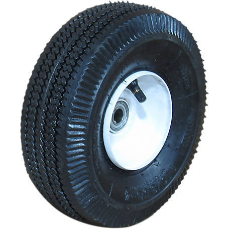 Hi-Run CT1009 Wheelbarrow Tire Assembly 4.10/3.50-4 4PR Sawtooth Tire and Wheel, CT1009