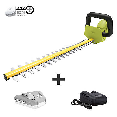Sun Joe 24-Volt iON+ 22 In. Cordless Hedge Trimmer Kit, 24V-HT22-LTE