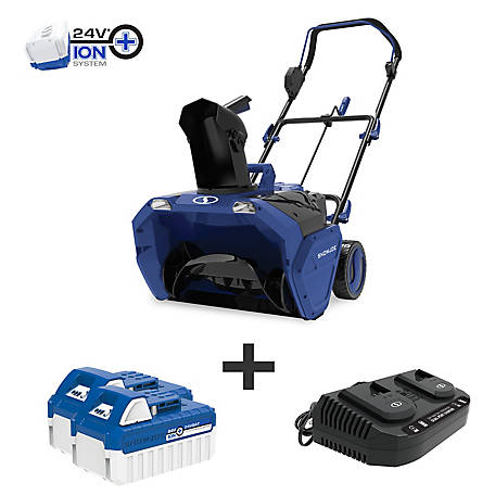 Snow Joe 48-Volt iON+ Cordless Snow Blower Kit, 20 in. with 2 x 4.0-Ah Batteries and Charger, 24V-X2-20SB