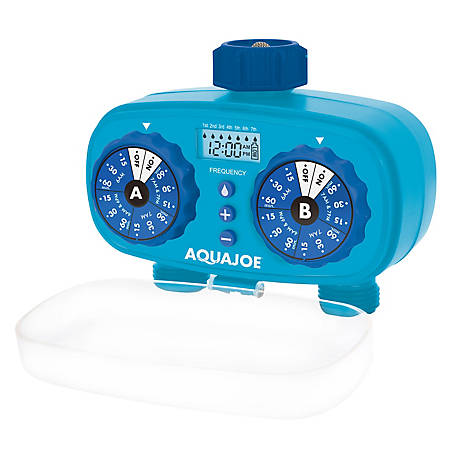 Aqua Joe 2-Zone Electronic Water Timer, Customizable Programs, 2 Connections, AJ-ET2Z