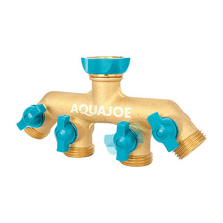 Aqua Joe Solid Brass 4-Connection Garden Hose Splitter, AJ-FS4W