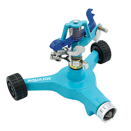 Aqua Joe Indestructible Zinc Impulse 360 Degree Sprinkler, Customizable Coverage, Wheeled Base, AJ-IS6WB