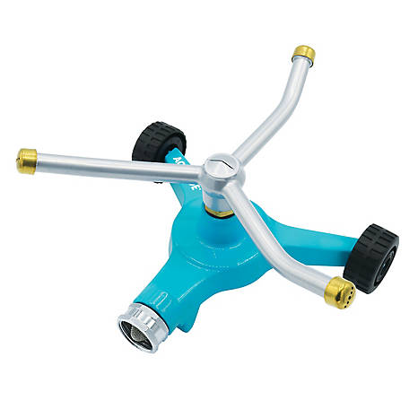 Aqua Joe Indestructible 3-Arm Zinc Rotary 360 Degree Sprinkler, Wheeled Base, 1390 sq. ft. Max Coverage, AJ-TRSWB