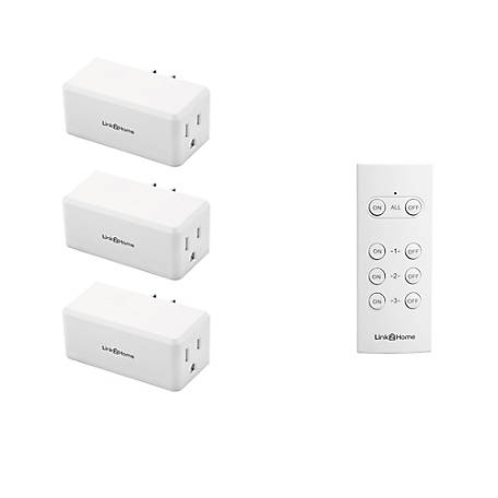 Link2Home Wireless Remote Control Outlet Light Switch, 100 ft. range, Unlimited Connections. Compact Side Plug, White, EM-RF300W
