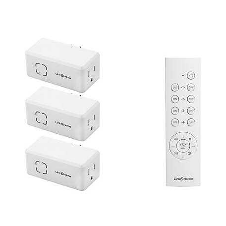 Link2Home Wireless Remote Control Outlet Light Switch, Countdown Timer and Random Function, 100 ft. range, White, EM-RF500W
