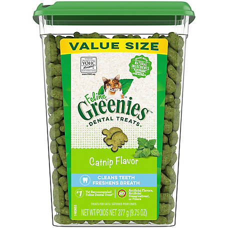 Greenies Felines Adult Dental Cat Treats, Catnip Flavor, 9.75 oz. Tub