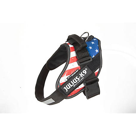 Julius-K9 Easyon IDC Powerharness for Dogs Hook Loop Patch, USA Flag, 16IDC