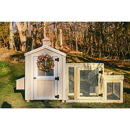 Cutest Coops Charming Coop with Silver Metal Roof, Flowerbox Run & Cupola Included. Weather & Predator Proof. Up to 8 Chickens