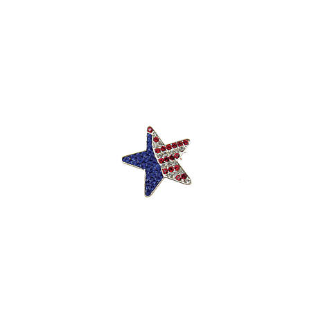 Buddy G's Patriotic Red, White and Blue Pave Star Pin